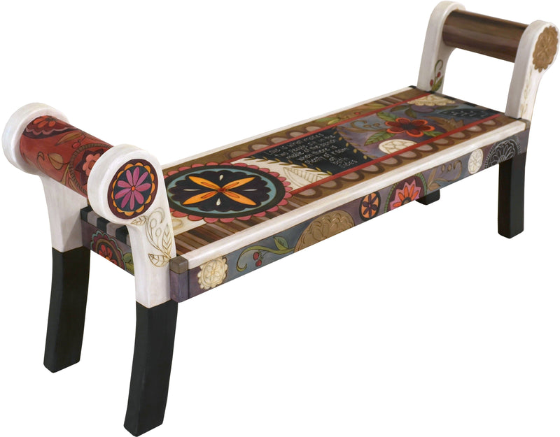 "Rolled Arm Bench –  ""Love is what Makes two People Sit in the Middle of the Bench when there is Plenty of Room at both Sides"" rolled arm bench with contemporary floral motif"