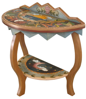 Small Half Round Table –  Elegant half round table with coastal themes