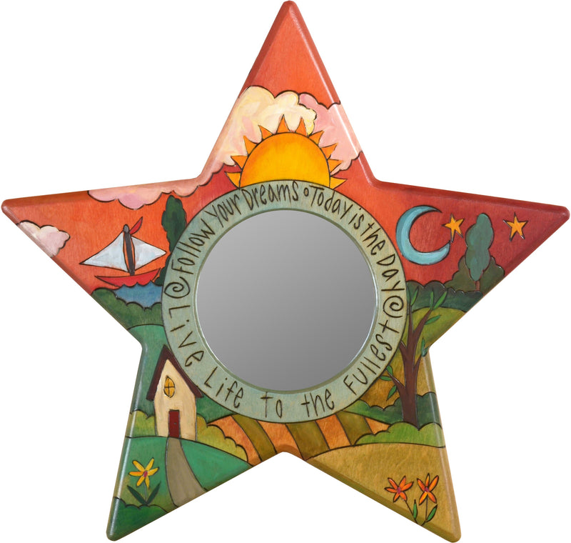 "Star Shaped Mirror –  ""Live Life to the Fullest"" star-shaped mirror with sun and moon over home on the rolling hills motif"