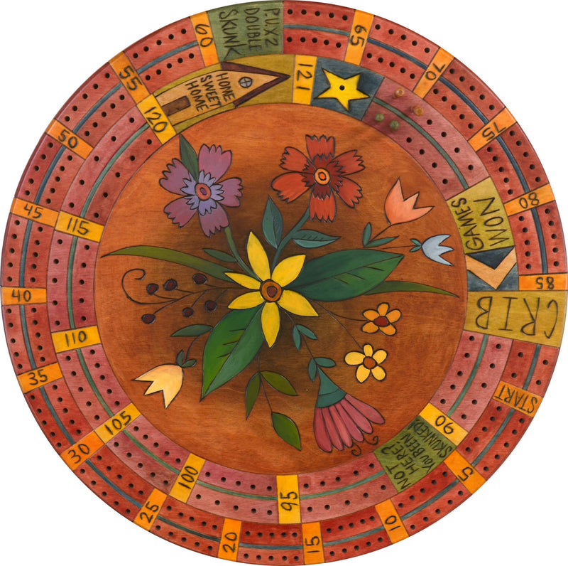 "20"" Cribbage Lazy Susan –  A bright floral spray fresh from the garden"