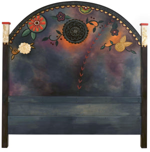 Queen Headboard –  Queen Headboard with beautiful floral motif on purple/blue background