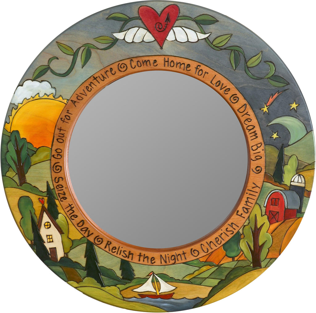 "Small Circle Mirror –  ""Seize the Day/Relish the Night"" circle mirror with sunny day and starry night motif"