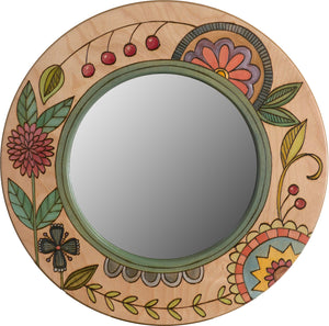 Small Circle Mirror –  Small circle mirror with colorful contemporary floral motif