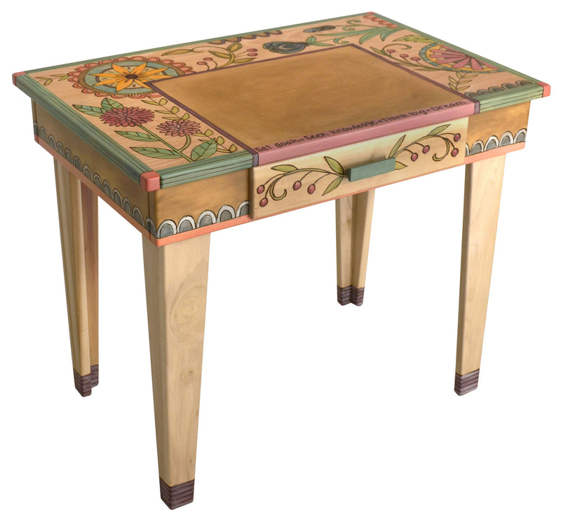 Small Desk –  Beautiful neutral and birch desk with floral motifs
