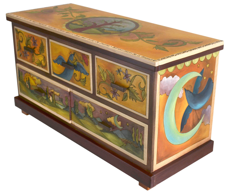 "Large Dresser –  ""Enjoy Nature"" dresser with sun, moon and birds motif"