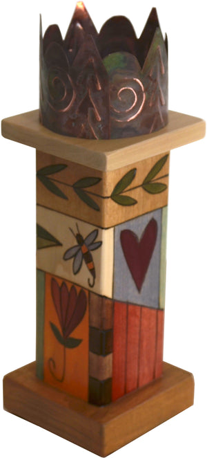 Small Pillar Candle Holder –  Beautiful candle holder with colorful block icons and unique stamped metal element