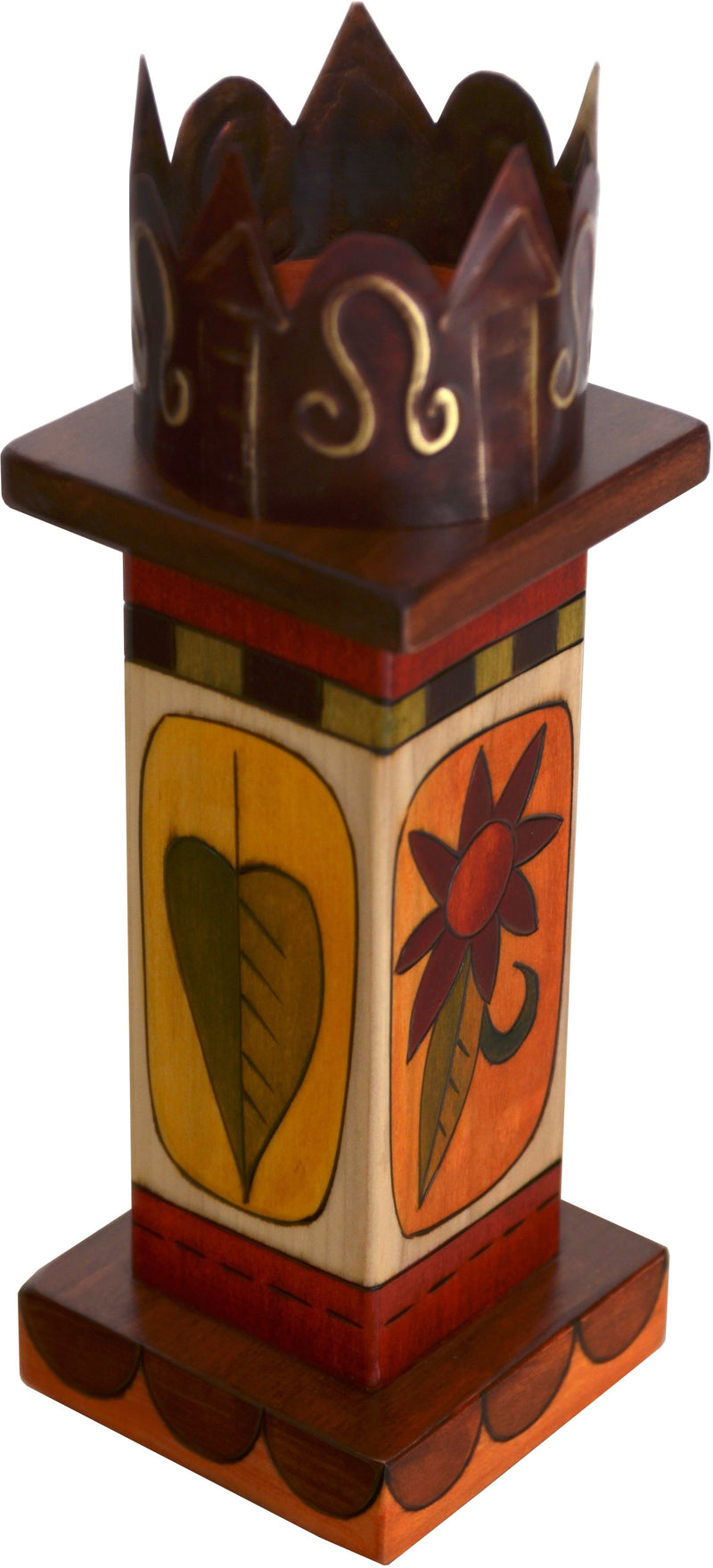 Small Pillar Candle Holder –  Colorful block icon candle holder with unique stamped metal element