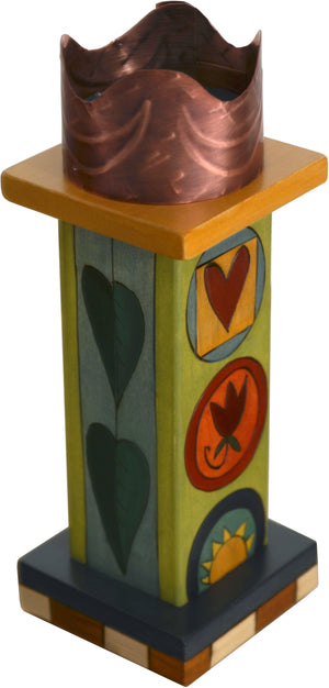 Small Pillar Candle Holder –  Lovely candle holder with block icons and leaf motifs