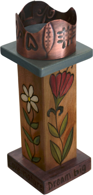 Small Pillar Candle Holder –  Elegant candle holder with floral motifs and unique stamped metal element
