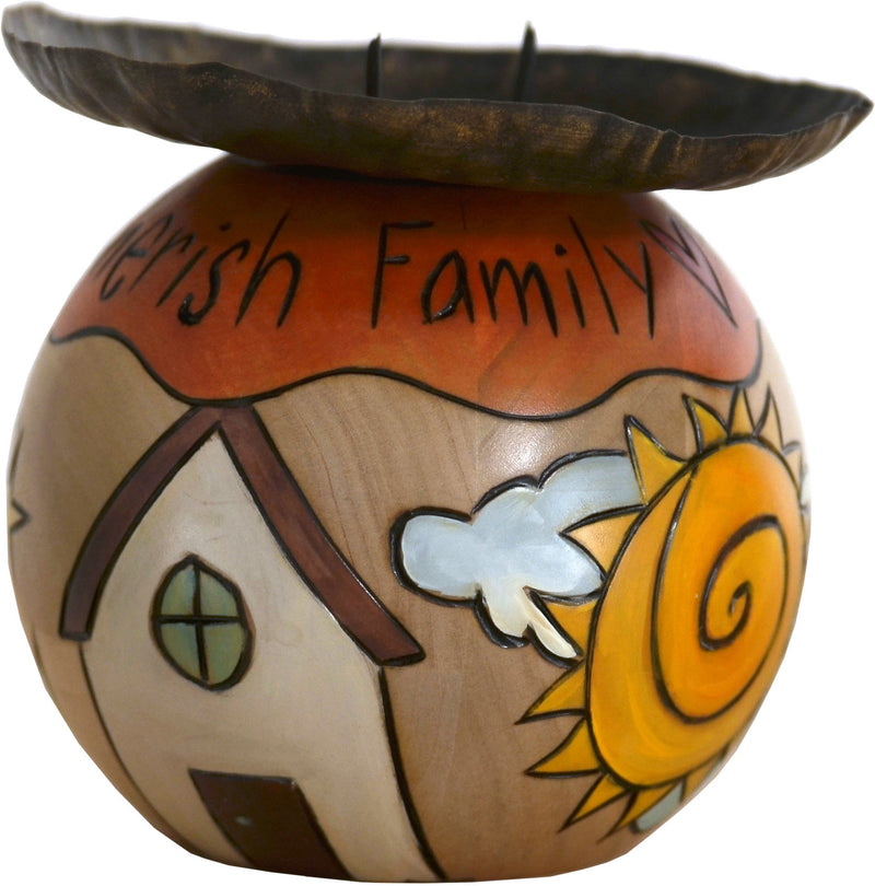 "Ball Candle Holder –  ""Cherish Family"" candle holder with home and heart icons"