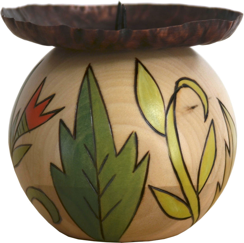 Ball Candle Holder –  Hand painted candle base with floral garden motifs