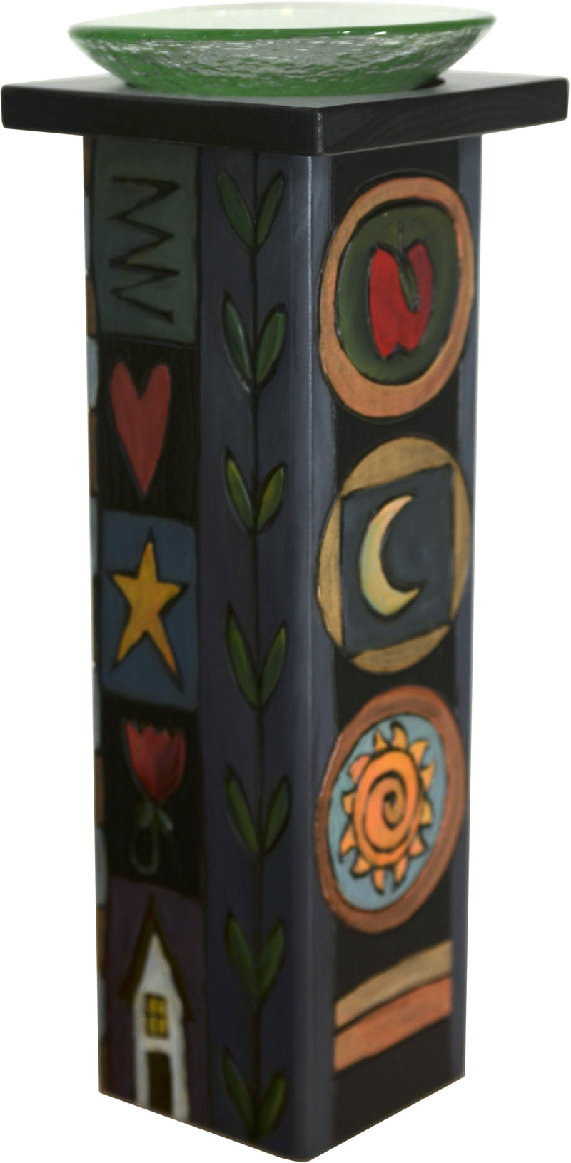 Large Pillar Candle Holder –  Folk art candle holder with floral motifs and colorful block icons