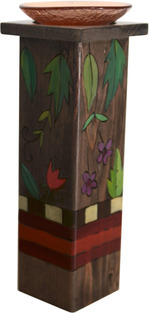 Large Pillar Candle Holder –  Elegant candle holder with dark stain, vine, and floral motifs