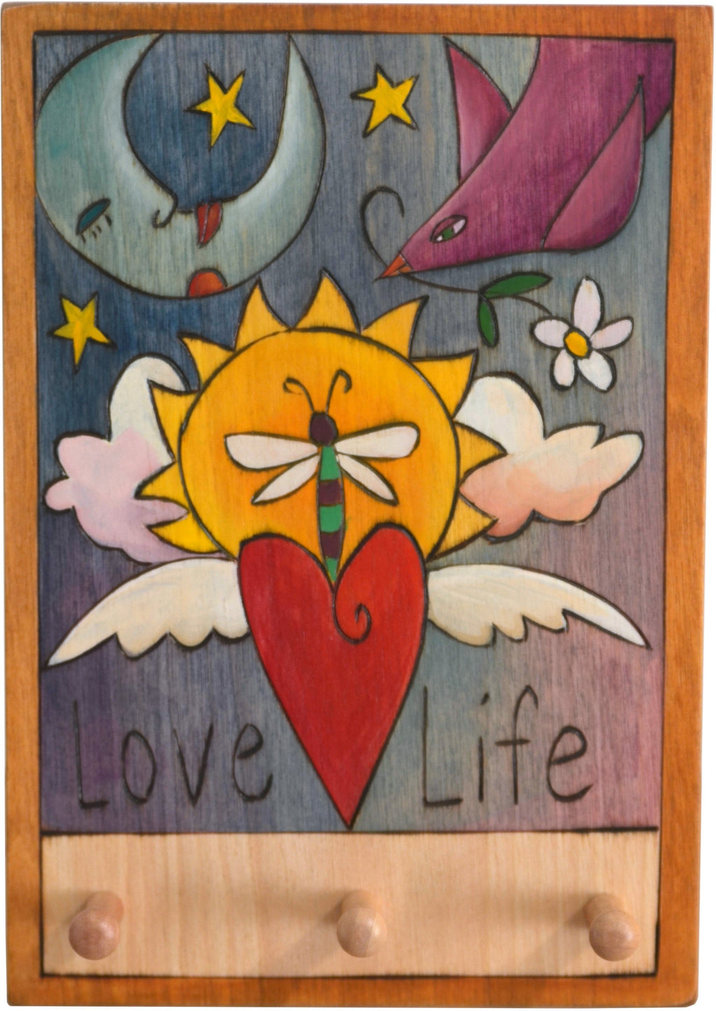 "Vertical Key Ring Plaque –  ""Love Life,"" key ring plaque with sun and moon motif and three pegs for keys"