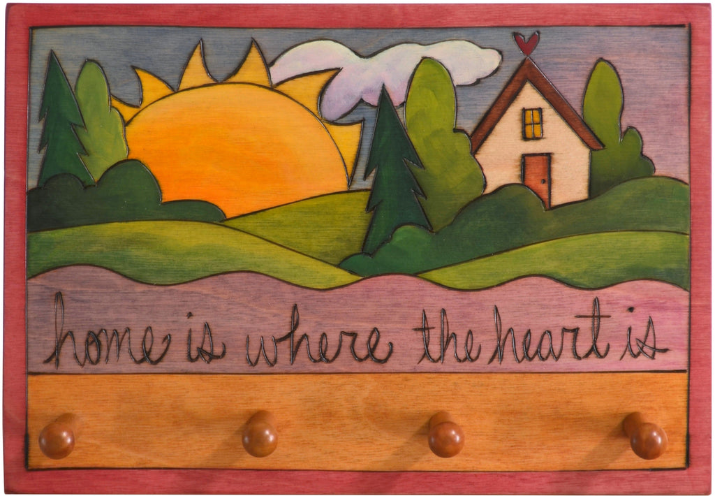 "Horizontal Key Ring Plaque –  ""Home is Where the Heart is"" key ring plaque with heart home, landscape and sunrise"