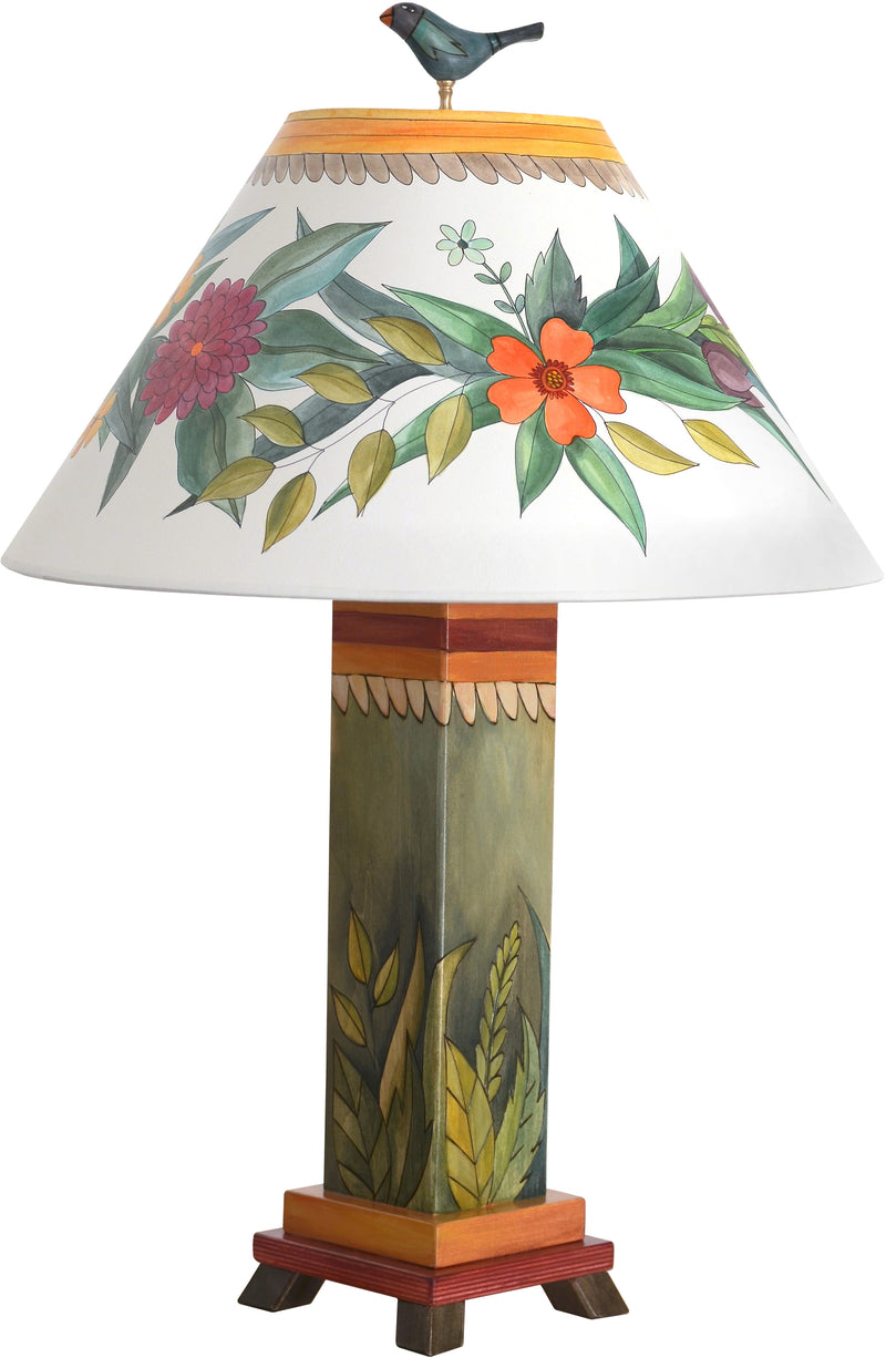 Box Table Lamp –  Beautiful table lamp with foliage them and folk art elements