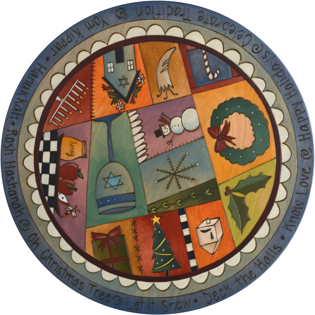 "Sticks Handmade 20"" winter holiday judaica lazy susan in blues"