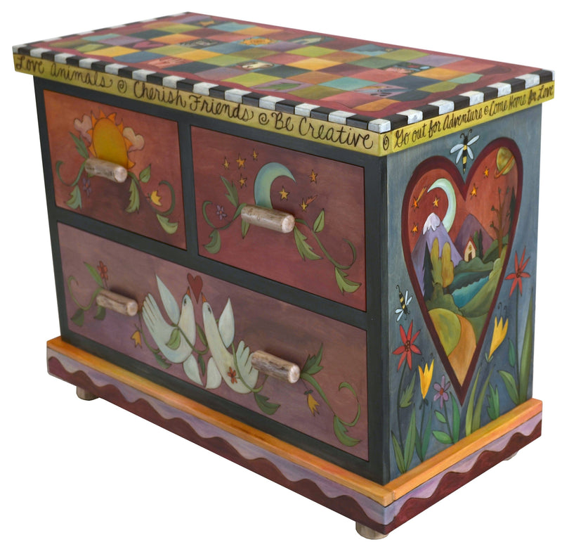 Small Dresser –  Beautiful dresser painted in rich hues with colorful block patterning and symbolic imagery