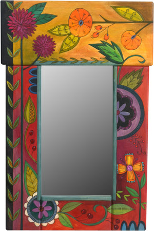 Small Mirror –  Colorful mirror with floral motifs painted in lovely rich hues