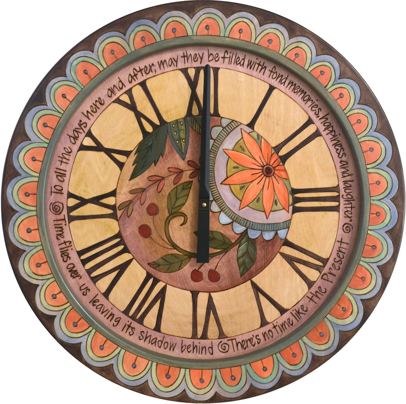 "Sticks handmade 24""D wall clock in elegant hues with floral motif"