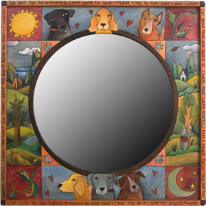 "Square Mirror –  ""Make Time to Play Every Day"" mirror with happy dog motif"