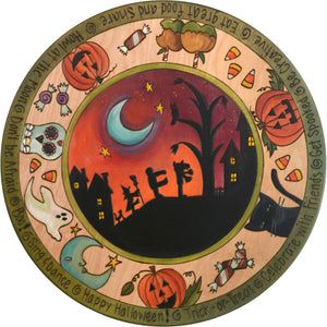 "Sticks Handmade 20""D lazy susan with Halloween theme including carved pumkins, sweets and a spooky landscape"