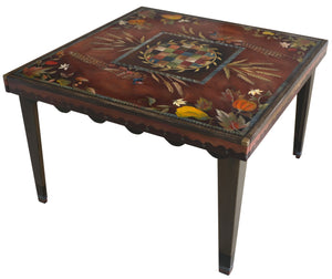 Square Dining Table –  Fall themed dining table with pheasant and gourd motif