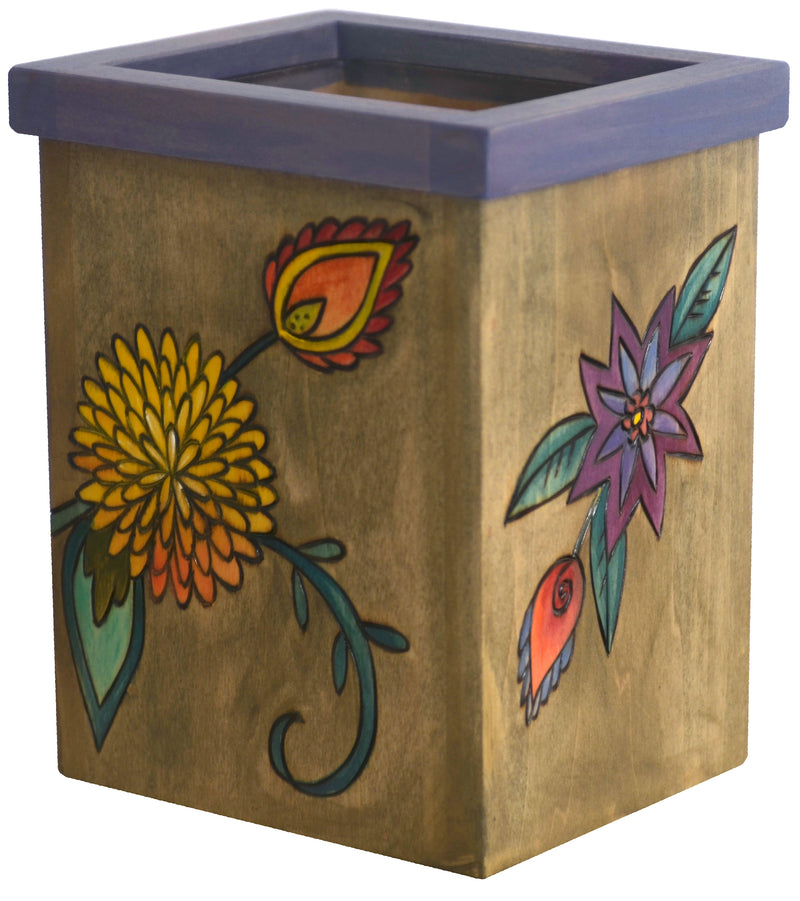 Vase/Utensil Box – Lovely vibrant flowers pop off a natural background