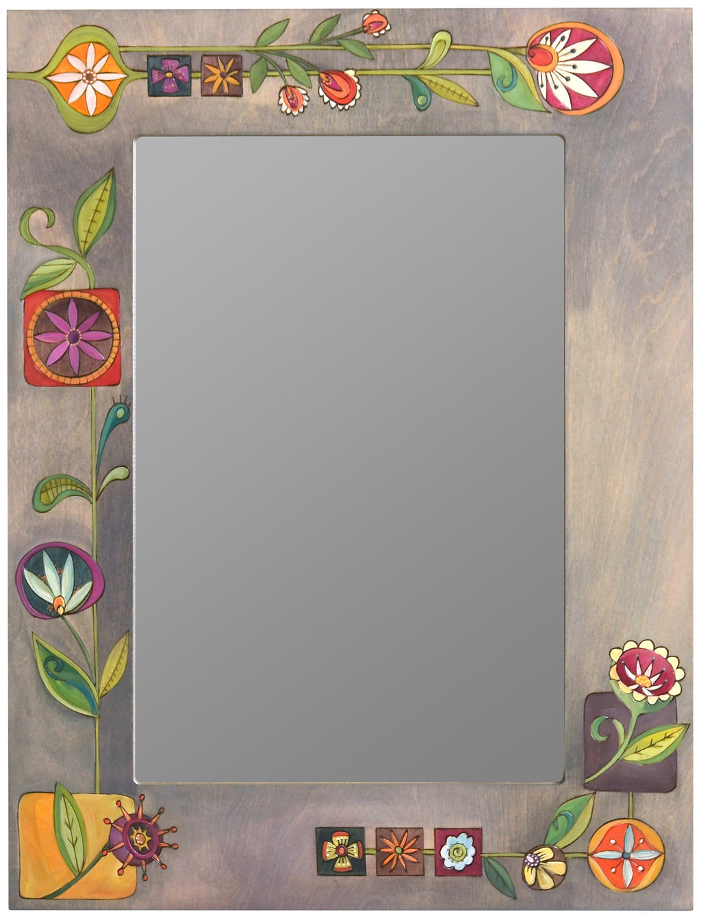 Rectangular Mirror –  A contemporary floral design pops off the neutral gray background