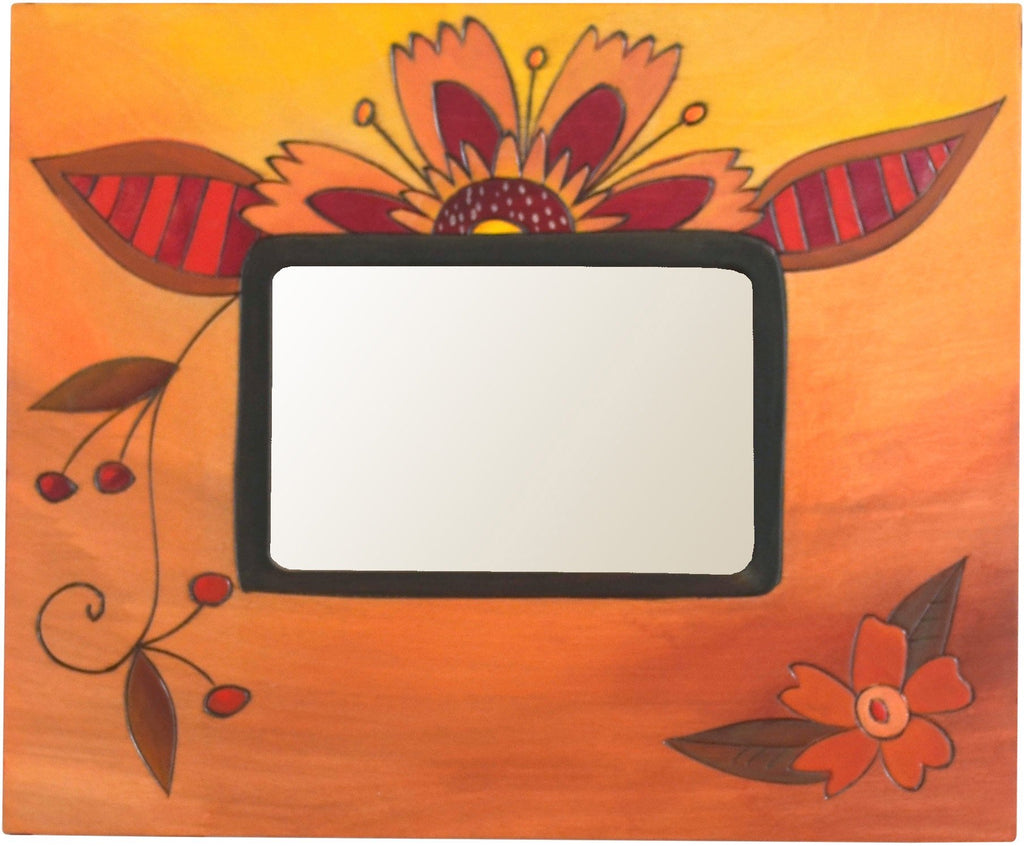 Sticks handmade picture frame with floral motif in warm hues