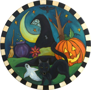 "Sticks Handmade 20""D lazy susan with Halloween scene, black cat, witch hat and a carved pumpkin"