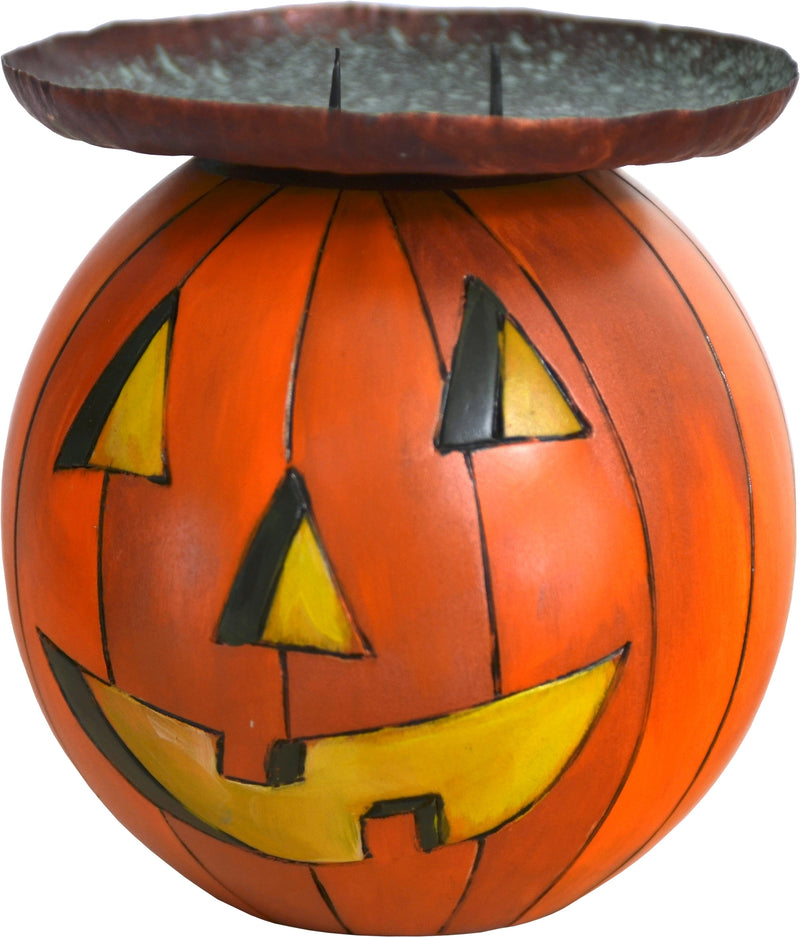 Ball Candle Holder –  A festive fall jack-o-lantern motif