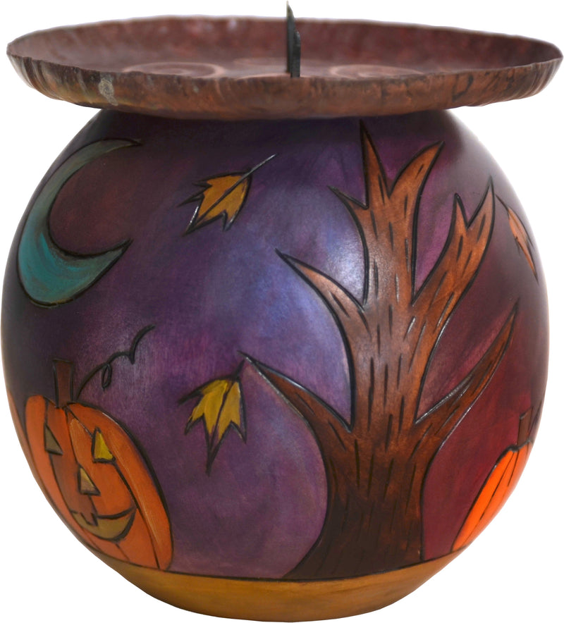 "Ball Candle Holder –  ""Happy Halloween"" pumpkin patch landscape motif"