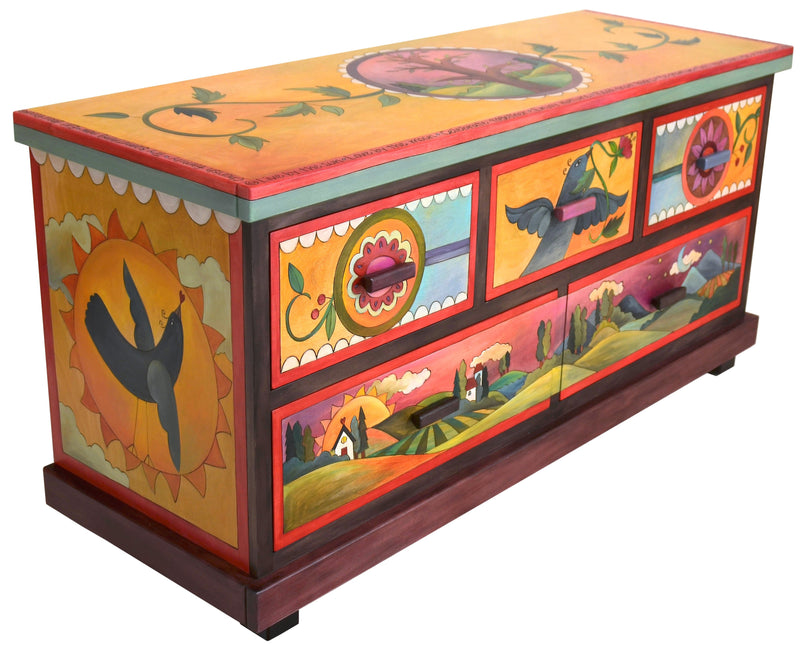 Large Dresser –  Dresser with sunset on the horizon and birds motif