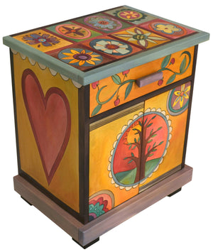 Nightstand Cabinet –  Bright and colorful contemporary folk art nightstand with floral motifs