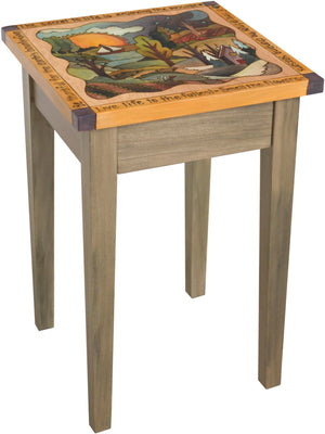 Small Square End Table –  Lovely square end table with rolling four seasons landscape and inspirational phrases border