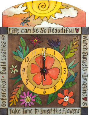 "Square Wall Clock –  ""Life can be so Beautiful"" wall clock with sun and flower motif"