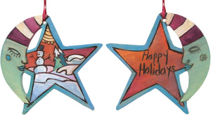 "Moon and Star Ornament –  ""Happy Holidays"" moon and star ornament sleepy mister moon and snowman motif"