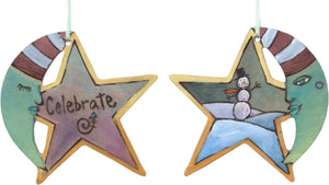 "Moon and Star Ornament –  ""Celebrate"" moon and star ornament with sleepy mister moon and smiley snowman motif"