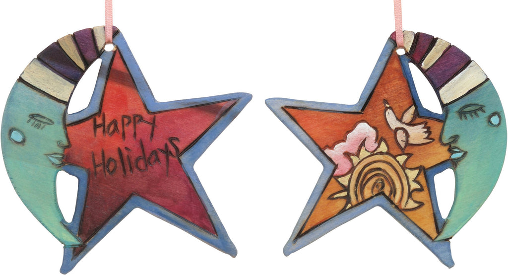 "Moon and Star Ornament –  ""Happy Holidays"" moon and star ornament with sleepy mister moon and a bright sun motif"