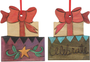 "Present Ornament –  Gifts ornament topped with a bow, ""Celebrate"""