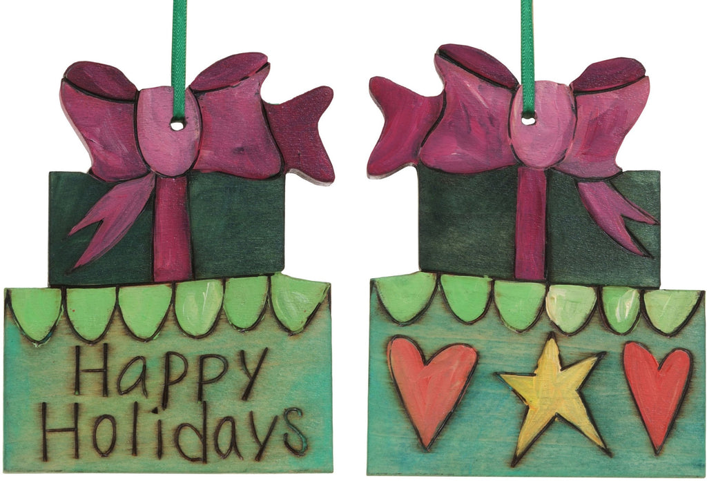 "Present Ornament –  ""Happy Holidays"" gifts ornament with star and hearts"