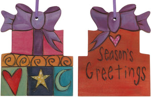"Present Ornament –  ""Season's Greetings"" present ornament with purple ribbon"