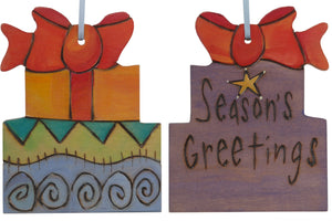 "Present Ornament –  ""Season's Greetings"" gift ornament with bow"