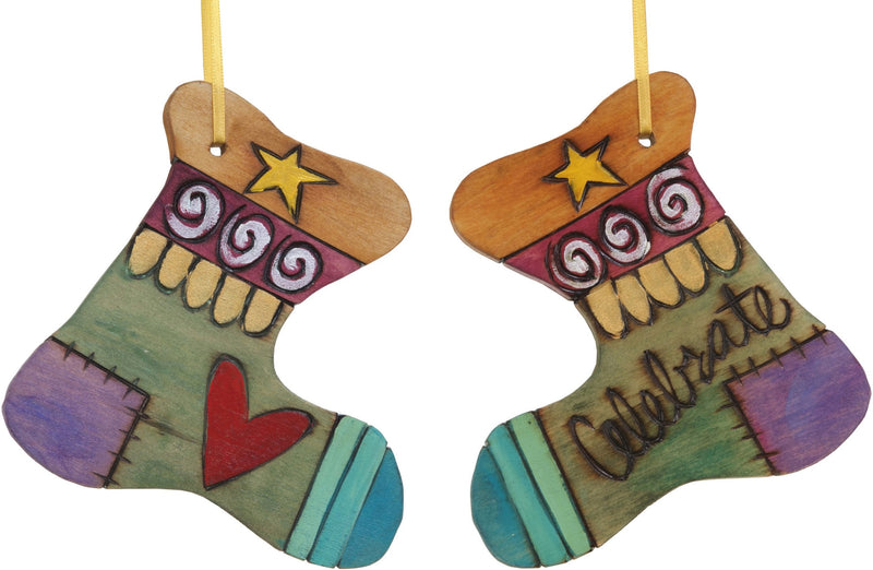 "Stocking Ornament –  ""Celebrate"" stocking ornament with blue toe and heart motif"