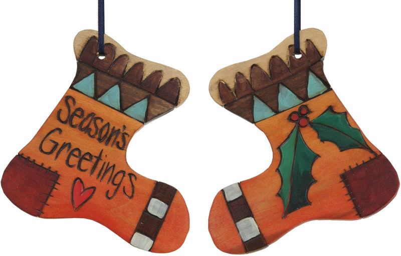 "Stocking Ornament –  ""Season's Greetings"" stocking ornament with mistletoe and heart motif"