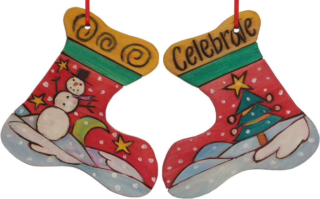 "Stocking Ornament –  ""Celebrate"" stocking ornament with smiley snowman and bright Christmas tree motif"