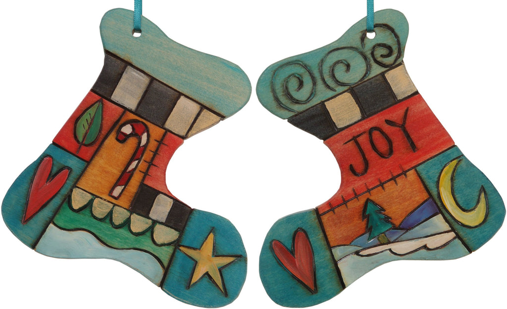 "Stocking Ornament –  ""Joy"" stocking ornament with candy cane and heart motif"