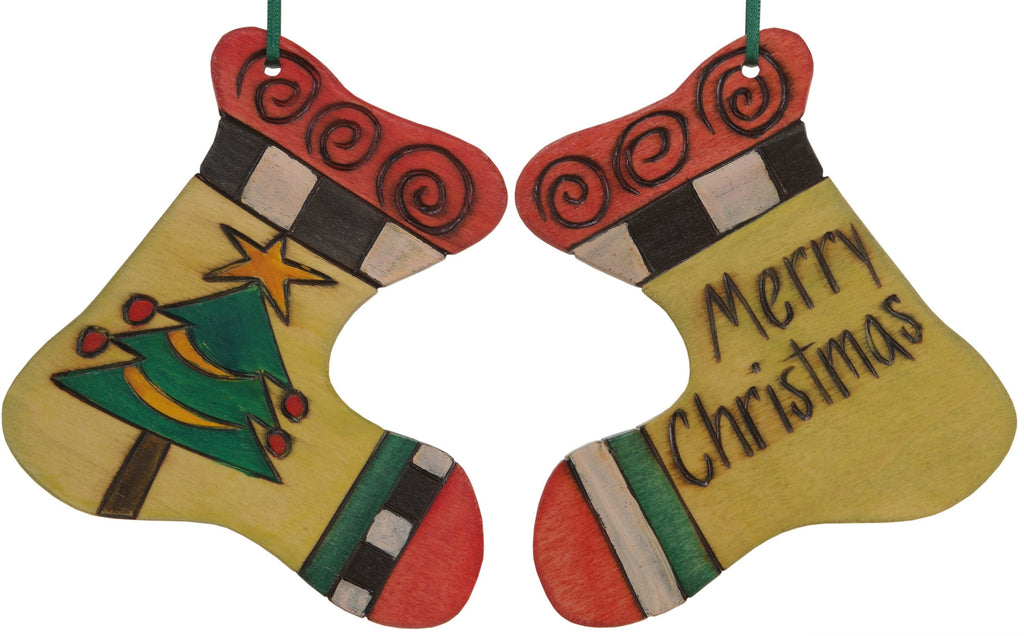 "Stocking Ornament –  ""Merry Christmas"" stocking ornament with pretty Christmas tree motif"