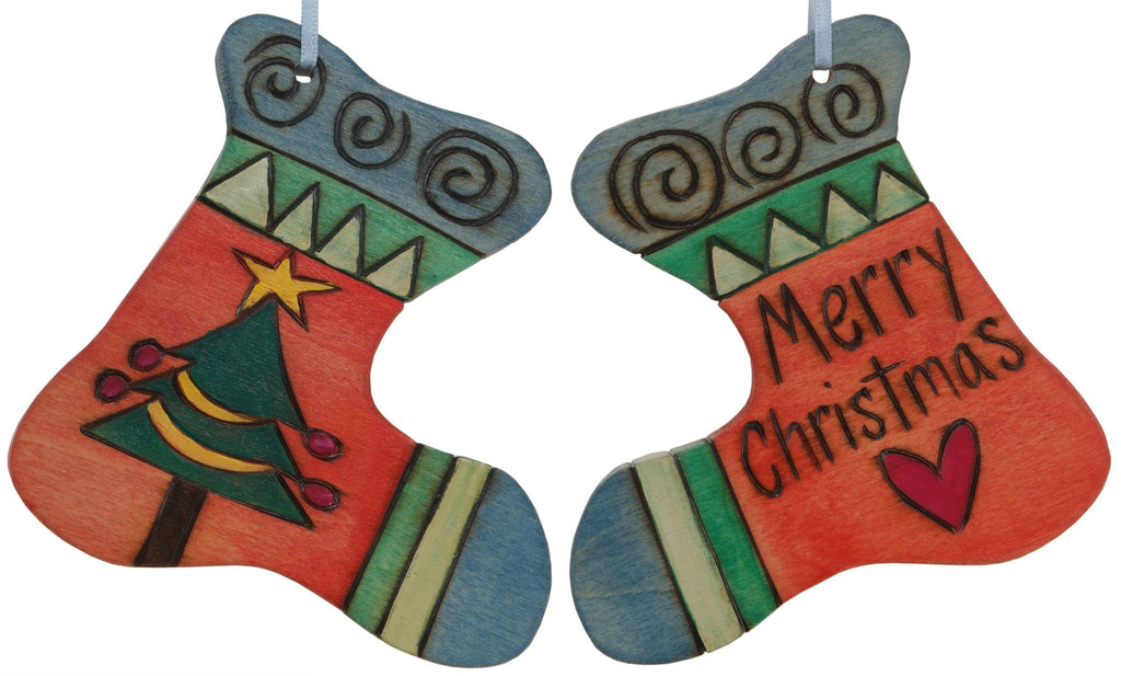 "Stocking Ornament –  ""Merry Christmas"" stocking ornament with Christmas tree and heart motif"